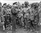 England, GBR - June 6, 1944 -- General Dwight D. Eisenhower giving orders to American paratroopers in England on D-Day, June 6, 1944..Credit: U.S. Army / CNP