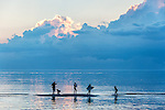 Family enjoys the shallow waters of Cape Cod Bay at sunset, Skaket Beach, Cape Cod, Massachusetts, USA