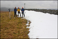 BNPS.co.uk (01202 558833).Pic: MyrddynPhillips/BNPS..***Please Use Full Byline***..Phillips, Jackson and Barnard on the summit of Thack Moor...Two Englishmen (and a Welshman) went up a hill but came down a mountain.....Three ramblers have elevated an English hill to mountain status after they remeasured it at just three-quarters-of-an-inch above the key height...At 1,998ft, Thack Moor in the Cumbrian Penines fell just 2ft short of being classified as a mountain by official mapmakers the Ordnance Survey...But armed with state-of-the-art GPS technology, intrepid hillwalkers John Barnard, Graham Jackson and Myrddyn Phillips set out to test the well-established listing...On two separate occassions the men ascended to the hill's summit and accurately measured its height at exactly 609.62 metres...The reading topped the magic mountain mark of 2,000ft by just three-quarters-of-an-inch...The Ordnance Survey has checked the new data and has confirmed it will amend its maps and listings, meaning Thack Moor will become England's 254th mountain..