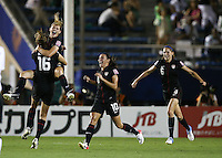 Tokyo, Japan - Saturday, Sept. 8, 2012: The United States defeated defending champion Germany 1-0 on Saturday in the 2012 FIFA Under-20 Women's World Cup at the Tokyo National Stadium. Kealia Ohai celebrates with her teammates after scoring the winning goal.