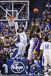 UK freshman forward Nerlens Noel and freshman forward Alex Poythress guarding LSU junior forward Jalen Courtney while he shoots the ball during the first half of the men's basketball game vs. LSU at Rupp Arena on Saturday, January 26, 2013, in Lexington, Ky. Photo by Kalyn Bradford | Staff
