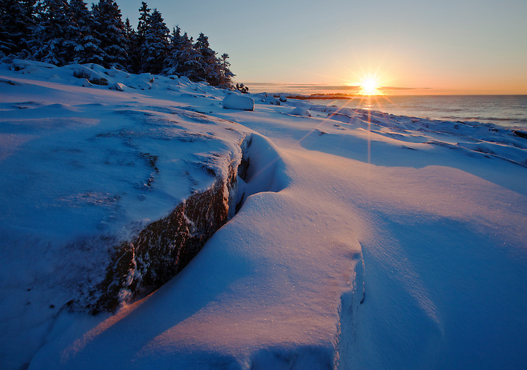 Winter sunrise at Schoodic Point in Acadia National Park, Maine, USA