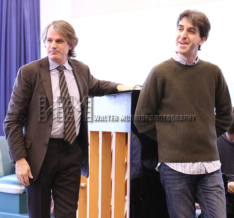Bartlett Sher and Jason Robert Brown perform at the 'The Bridges of Madison County' Media Day at the New 42nd Street Studios on December 16, 2013 in New York City.