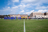 Georgetown and Seton Hall line up on the field before the game at Shaw Field in Washington, DC.  Georgetown defeated Seton Hall, 8-0.