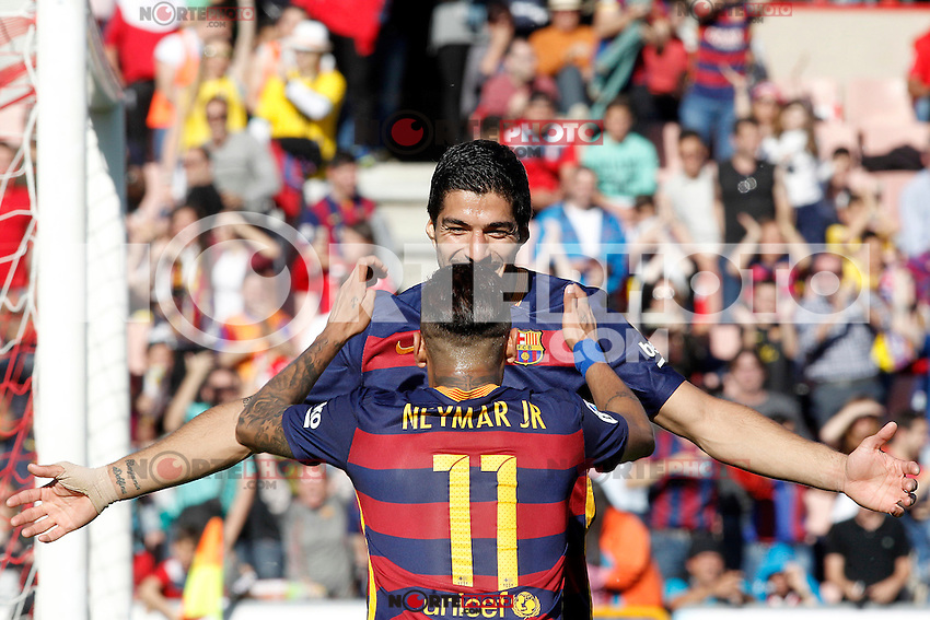 FC Barcelona's Luis Suarez (l) and Neymar Santos Jr celebrate goal during La Liga match. May 14,2016. (ALTERPHOTOS/Acero) /NortePhoto.com