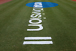 02 June 2016: The NCAA logo is stenciled on the field. The Nova Southeastern University Sharks played the Cal Poly Pomona Broncos in Game 11 of the 2016 NCAA Division II College World Series  at Coleman Field at the USA Baseball National Training Complex in Cary, North Carolina. Nova Southeastern won the semifinal game 4-1 and advanced to the championship series.