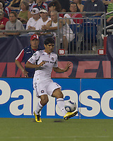 Second half substitute Chicago Fire defender Deris Umanzor (13) passes the ball. The Chicago Fire defeated the New England Revolution, 1-0, at Gillette Stadium on June 27, 2010.