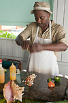 Grand Bahama Island, The Bahamas; a step by step demonstration of the making of conch salad or cerviche, at the Junkanoo Beach Club on Taino Beach