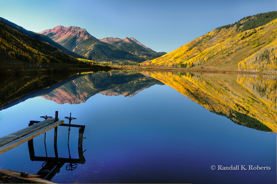Early autumn morning, Crystal Lake, near Red Mountain Pass, south of Ouray, Colorado.