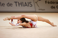 Aliya Yussupova of Kazakhstan performs flexibility handsfree during gala exhibition at 2006 Thiais Grand Prix in Paris, France on March 26, 2006.  (Photo by Tom Theobald)