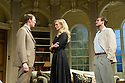 Bath, UK. 17.06.2013. RELATIVE VALUES, by Noel Coward, opens the 2013 summer season at the Theatre Royal Bath. Picture shows: Sam Hoare (Nigel, Earl of Marshwood), Katherine Kingsley (Miranda Frayle) and Ben Mansfield (Don Lucas). Photograph © Jane Hobson.