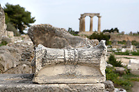 CORINTH, GREECE - APRIL 16 : A detail of architectural carving from the Temple of Apollo, on April 16, 2007 in Corinth, Greece. The Temple of Apollo is one of the oldest in Greece, originally built in the 7th century AD. At its entrance is a display of architectural fragments including column capital types; this one is Corinthian. Corinth, founded in Neolithic times, was a major Ancient Greek city, until it was razed by the Romans in 146 BC. Rebuilt a century later it was destroyed by an earthquake in Byzantine times.(Photo by Manuel Cohen)