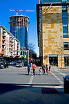 The Austonianas seen looking down 2nd Street in Austin Texas, February 11, 2009.  The Austonian is a residential skyscraper currently under construction in Austin. Upon completion in 2009, the building will be the tallest in Austin at 683 feet tall with 56 floors.