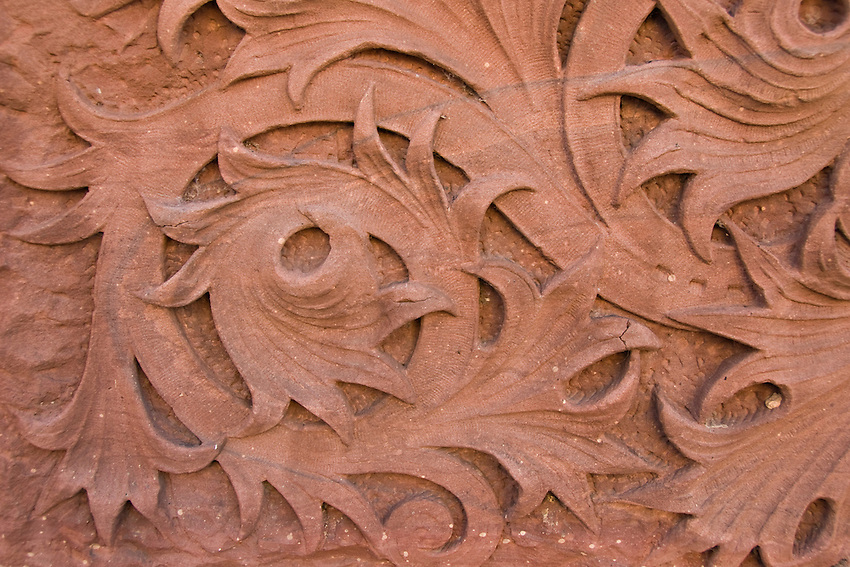Detail of ornate sandstone carving on the Savings Bank in downtown Marquette Michigan.