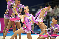 September 13, 2009; Mie, Japan;  Anzhelika Savrayuk and Italian rhythmic group performs during ropes + ribbons Event Final after earlier winning gold in group All Around the day before at the 2009 World Championships Mie, Japan. Photo by Tom Theobald.