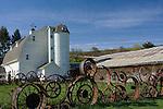 Washington, Pullman, Palouse, Uniontown. The Historic Dahmen Barn, silo and wagonwheel fence is a landmark on the Palouse of South Eastern Washington.