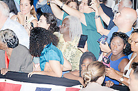 People wait to greet Democratic Presidential nominee Hillary Clinton after her speech in the Theodore R. Gibson Health Center at Miami Dade College-Kendall Campus in Miami, Florida, USA. Former Vice President Al Gore also spoke at the event.