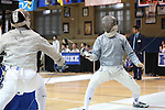 11 February 2017: Duke's Peter Yang (right) competes against MIT's Benjamin Lin (left) in Saber. The Duke University Blue Devils hosted the Massachusetts Institute of Technology Engineers at Card Gym in Durham, North Carolina in a 2017 College Men's Fencing match. Duke won the dual match 19-8 overall, 7-2 Foil, 6-3 Epee, and 6-3 Saber.