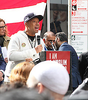 NEW YORK, NY - FEBRUARY 19: Hip hop mogul Russell Simmons at the 'I Am Muslim Too' rally in Times Square coordinated by hip hop mogul Russell Simmons and a group of interfaith religious leaders in New York, New York on February 19, 2017.  Photo Credit: Rainmaker Photo/MediaPunch