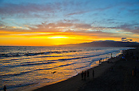Santa Monica Beach amid the sunset on Thursday, March 4, 2013.