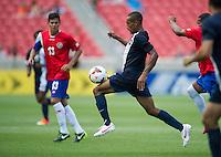 SANDY, UT - July 13, 2013: Belize National Team defender Evral Trapp (18) during the Costa Rica vs Belize match at Rio Tinto Stadium in Sandy, Utah. Final score Costa Rica 1, Belize 0.