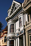 "Painted Ladies is a term used for Victorian and Edwardian buildings painted in three or more colors that enhance their architectural details.  About 48,000 houses in the Victorian and Edwardian styles were built in San Francisco between 1849 and 1915 with the change from Victorian to Edwardian occurring on the death of Queen Victoria in 1901, and many were painted in bright colors.  One of the best known groups of ""Painted Ladies"" is the row of Victorian houses on Steiner Street bordering Alamo Square park in San Francisco. This block appears very frequently in media photographs of the city."