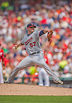 9 June 2013: Minnesota Twins pitcher Ryan Pressly on the mound against the Washington Nationals at Nationals Park in Washington, DC. The Nationals shut out the Twins 7-0 in the first game of their day/night double-header. Mandatory Credit: Ed Wolfstein Photo *** RAW (NEF) Image File Available ***