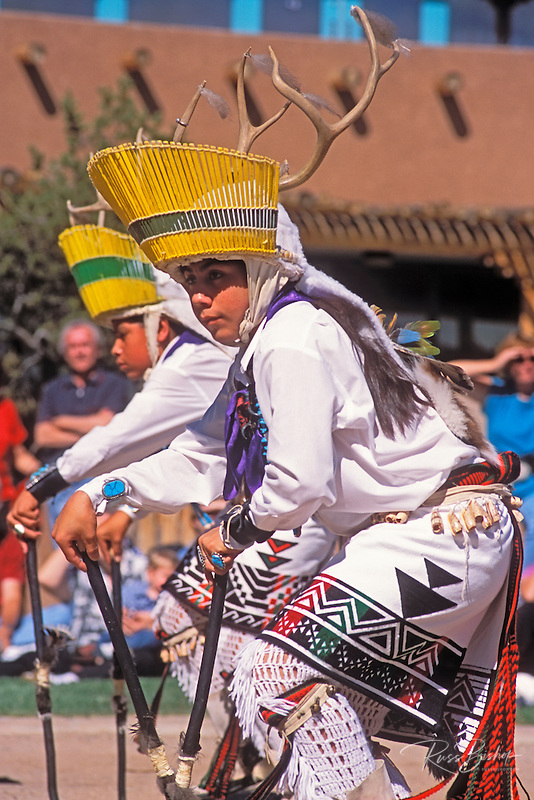 Zuni Pueblo dancers performing a deer dance, Pueblo Indian Cultural Center, Albuquerque, New Mexico USA