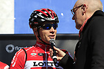 Jurgen Roelandts (BEL) Lotto-Soudal on stage at sign on before the start of Gent-Wevelgem in Flanders Fields 2017, running 249km from Denieze to Wevelgem, Flanders, Belgium. 26th March 2017.<br /> Picture: Eoin Clarke | Cyclefile<br /> <br /> <br /> All photos usage must carry mandatory copyright credit (&copy; Cyclefile | Eoin Clarke)