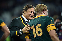 Coenie Oosthuizen of South Africa congratulates Adriaan Strauss of South Africa after the match. Rugby World Cup Bronze Final between South Africa and Argentina on October 30, 2015 at The Stadium, Queen Elizabeth Olympic Park in London, England. Photo by: Patrick Khachfe / Onside Images