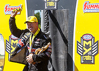 May 15, 2016; Commerce, GA, USA; NHRA pro stock driver Jason Line celebrates after winning the Southern Nationals at Atlanta Dragway. Mandatory Credit: Mark J. Rebilas-USA TODAY Sports