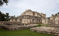 The South Structure with the stelaes in the foreground, South Plaza, Ek Balam (?Black Jaguar? in Maya), flourished during the Late Classic period between 700 and 1200 AD, Yucatan, Mexico. Picture by Manuel Cohen