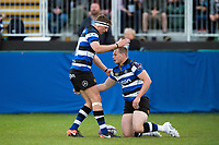 Chris Cook of Bath United is congratulated on his try by team-mate Darren Atkins. Remembrance Rugby match, between Bath United and the UK Armed Forces on May 10, 2017 at the Recreation Ground in Bath, England. Photo by: Patrick Khachfe / Onside Images