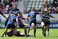 Will Genia of Stade Francais box-kicks the ball as Dave Attwood of Bath Rugby looks to charge him down. European Rugby Challenge Cup Semi Final, between Stade Francais and Bath Rugby on April 23, 2017 at the Stade Jean-Bouin in Paris, France. Photo by: Patrick Khachfe / Onside Images