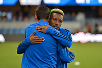 San Jose, CA - Friday April 14, 2017: Cordell Cato, Chris Wondolowski  prior to a Major League Soccer (MLS) match between the San Jose Earthquakes and FC Dallas at Avaya Stadium.