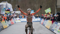 Joris Nieuwenhuis (NED/U23) crowns himself the new U23 CX World Champion<br /> <br /> UCI 2017 Cyclocross World Championships<br /> <br /> january 2017, Bieles/Luxemburg