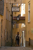Europe, Slovakia, capitol city - Bratislava, Bastova, one of the city's best winding alleys.near Michael tower..