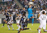 CARSON, CA - November 4, 2012: LA Galaxy goalie Josh Saunders  (12) during the LA Galaxy vs the San Jose Earthquakes at the Home Depot Center in Carson, California. Final score LA Galaxy 0, San Jose Earthquakes 1.