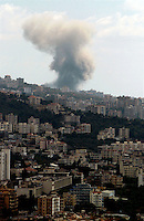The Palestinian Naameh refugee camp is bombed by the Israelis 13-8-06. The camp is several kilometres south of the city is home to around 12,000 displaced Palestinians included wanted Hamas militants.