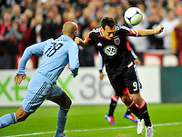 Hamdi Salihi of United tries to header the ball in the net. Sporting Kansas City defeated D.C. United 1-0 during an MLS home opener at the RFK Stadium in Washington, D.C. on Saturday, March 10, 2012. Alan P. Santos/DC Sports Box