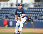 Ole Miss pitcher Brett Huber (38) vs. North Carolina-Wilmington at Oxford-University Stadium in Oxford, Miss. on Friday, February 24, 2012. Ole Miss won 2-0. Huber got the save.