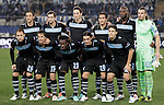 Calcio, Europa League Gruppo J: Lazio vs Tottenham Hotspur. Roma, stadio Olimpico, 22 novembre 2012..Lazio players pose prior to the start of the Europa League Group J football match between Lazio and Tottenham Hotspur at Rome's Olympic stadium, 22 November 2012. Back row, from left, Stefano Mauri, Senad Lulic, Libor Kozak, Cristian Ledesma, Michael Ciani and Michael Ciani. Front row, from left, Stefan Radu, Alvaro Gonzalez, Luis Pedro Cavanda, Giuseppe Biava and Hernanes.UPDATE IMAGES PRESS/Riccardo De Luca