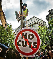 Protester - 2011<br /> <br /> London, 30/06/2011. Today around 50,000 people marched in central London to protest against public sector cuts, the new pension reform plans, and retirement policies (the retirement age has been risen from 60 to 66 under the new coalition Government). Teachers, lecturers, and public sector workers were leading the rally organised by the National Union of Teachers (NUT), Association of Teachers and Lecturers (ATL), University and College Union (UCU) and the Public and Commercial Services Union (PCS). Several arrests were made around Whitehall and Trafalgar Square amid police action to prevent people from leaving the designed areas.