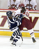 Courtney Sheary (UNH - 3), Mary Restuccia (BC - 22) - The Boston College Eagles and the visiting University of New Hampshire Wildcats played to a scoreless tie in BC's senior game on Saturday, February 19, 2011, at Conte Forum in Chestnut Hill, Massachusetts.
