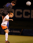 Sophomore Arin Gilliland heads the ball during the University of Kentucky vs UT-Martin soccer game in the first round of the NCAA Soccer Tournament in Lexington, Ky., on, 11 11/9/2012, {year}. Photo by Jared Glover | Staff