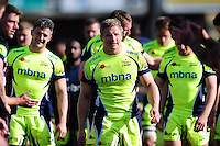 David Seymour of Sale Sharks leads his team off the field after the match. Aviva Premiership match, between Bath Rugby and Sale Sharks on April 23, 2016 at the Recreation Ground in Bath, England. Photo by: Patrick Khachfe / Onside Images