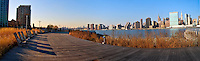 Gantry Plaza State Park, Long Island City, Queens, NYC, NY, Benches, Panorama