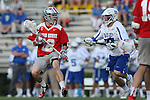 09 May 2015: Ohio State's David Planning (12) and Duke's Garret Van de Ven (right). The Duke University Blue Devils hosted the Ohio State University Buckeyes at Koskinen Stadium in Durham, North Carolina in a 2015 NCAA Division I Men's Lacrosse Tournament First Round match. Ohio State won the game 16-11.