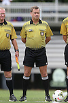 14 September 2014: Referee Daniel Burak. The Duke University Blue Devils hosted the Louisiana State University Tigers at Koskinen Stadium in Durham, North Carolina in a 2014 NCAA Division I Women's Soccer match. Duke won the game 1-0.