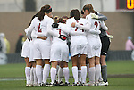 06 December 2009: Stanford's starters huddle before the start of the game. The University of North Carolina Tar Heels defeated the Stanford University Cardinal 1-0 at Aggie Soccer Stadium in College Station, Texas in the NCAA Division I Women's College Cup Championship game.